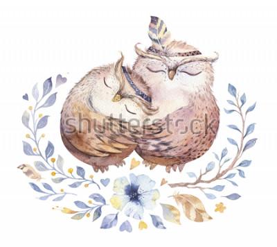 Sticker Ich liebe dich. Reizende Aquarellillustration mit süßen Eulen, Herzen und Blumen in den ehrfürchtigen Farben. Erstaunliche romantische Valentinstagkarte gemacht in der Aquarelltechnik. Helle Valentine
