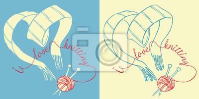 Ich liebe Strickpostkarte. Umriss Vektor-Illustration von herzförmigen Schal, Garn und Stricknadeln.