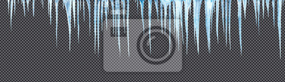Sticker icicles hanging downisolated with precise clipping path included