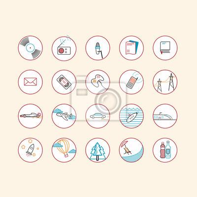 Icon-Set: Verkehr, Multimedia, Elektrizität