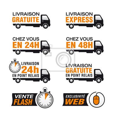 Icone livraison gratuite, livraison express, Punkt relais, 24h