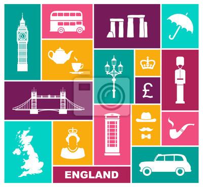 Icons on a theme of England. Flat symbols