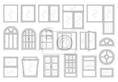 Sticker Icons Satz von Windows verschiedenen Typen. Piktogramm-Sammlung im dünnen, linearen Stil. Klassische architektonische Elemente. Einfaches Design. Vektor-Illustration in schwarzer Farbe isoliert auf we