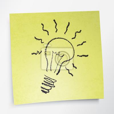 Idea-Symbol auf gelbem Papier klebrig. Vektor-Illustration
