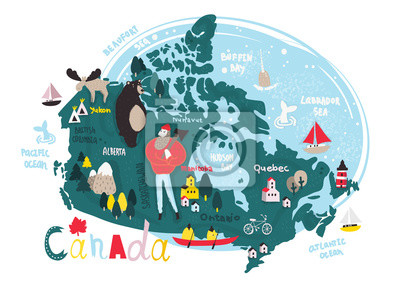 Illustrated vector map of Canada