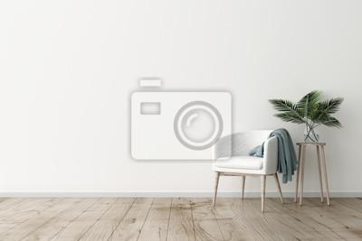 Sticker Illustration 3d des weißen Innenraums der leeren Wand