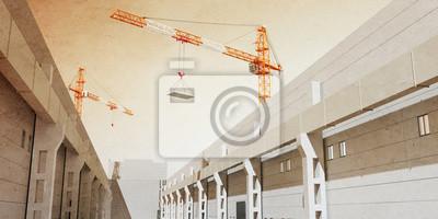 Illustration 3d von Baukräne bauen industrielle Halle. 3D Modellierung