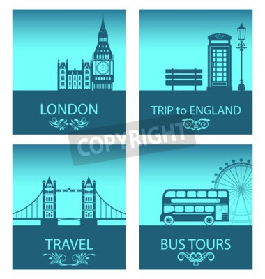Illustration Abstract Postcards for Trip Of England with Silhouette Background of Abstract London Skyline and Symbols of London - Vector