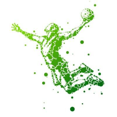 Sticker Illustration der abstrakten Basketballspieler im Sprung