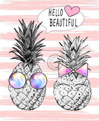 Illustration der Ananas Junge mit Brille und Mädchen mit rosa Schleife. Schriftzug - hallo schön. Drucken, T-Shirt, Vektor