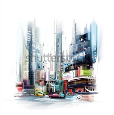 Sticker Illustration der europäischen Stadtstraße