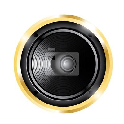 Illustration der goldenen Audio-Lautsprecher
