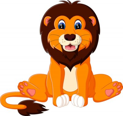Sticker Illustration der niedlichen Baby-Löwe-Cartoon