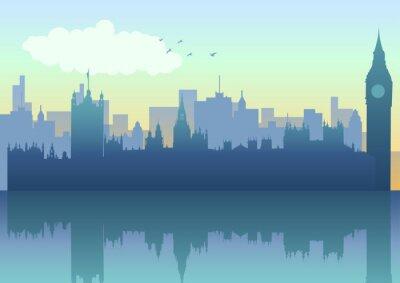 Illustration der Skyline von London in der Silhouette