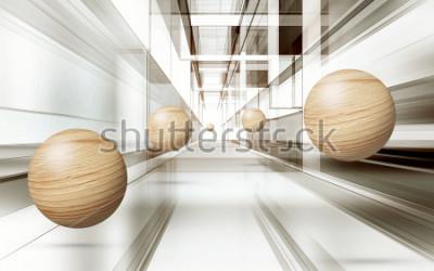 Sticker Illustration des braunen Musters des Bereichs 3D auf dekorativer Tapete des Hintergrundes 3D. Grafische moderne Kunst