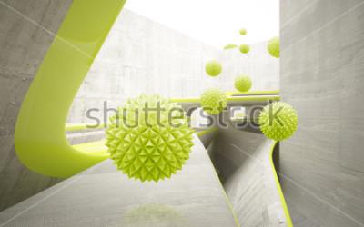 Sticker Illustration des grünen Kristallballmusters 3D auf dekorativer Tapete des Hintergrundes 3D. Grafische moderne Kunst