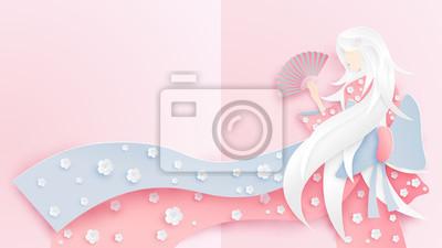 Illustration des japanischen Mädchens, das Kimonokostüm mit Kirschblütenmuster trägt.  Papierkunststil des japanischen Mädchens, das Nationaltracht trägt.  Papierkunst und Bastelstil.  Vektor.