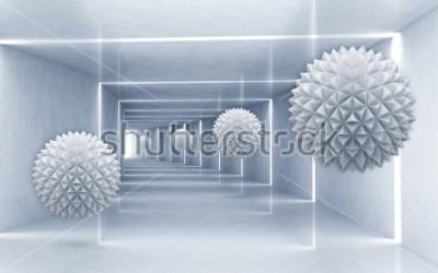 Sticker Illustration des Kristallballmusters 3D auf dekorativer silberner Tapete des Hintergrundes 3D. Grafische moderne Kunst