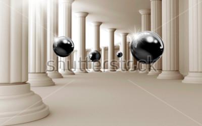 Sticker Illustration des schwarzen Musters des Balls 3D auf dekorativer Tapete des Hintergrundes 3D. Grafische moderne Kunst