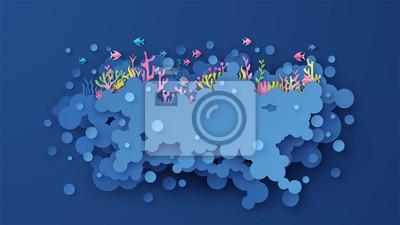 Illustration design of the undersea world. Creative a beautiful undersea scene. paper cut and craft style. vector, illustration.