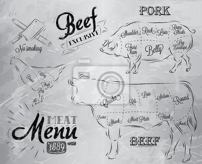 Illustration eines Jahrgangs grafisches Element auf der Speisekarte für Fleisch