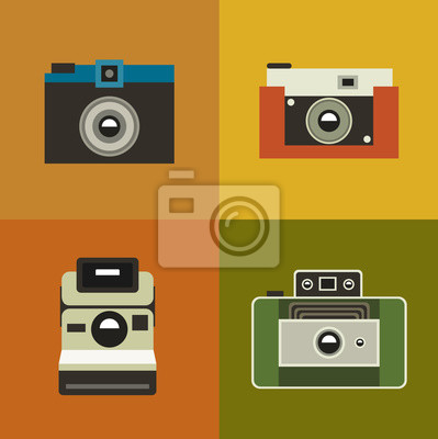 illustration icon set of vintage photo camera