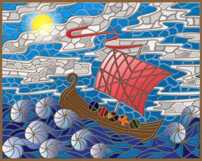 Sticker Illustration in Buntglas-Stil mit antiken Schiff gegen das Meer, Himmel und Sonne