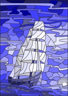 Sticker Illustration in Buntglas-Stil mit dem Segelboot gegen den Himmel, das Meer und die untergehende Sonne.Blue-Version