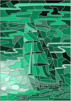 Sticker Illustration in Buntglas-Stil mit dem Segelboot gegen den Himmel, das Meer und die untergehende sun.Green Version