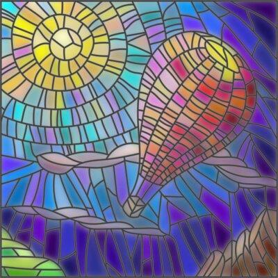 Sticker Illustration in Glasmalerei Stil Heißluftballon auf Himmel Hintergrund und Sonne