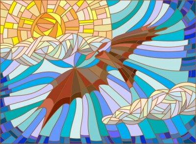 Sticker Illustration in Glasmalerei Stil mit Vintage-Flugzeuge in den Himmel, Wolken und Sonne