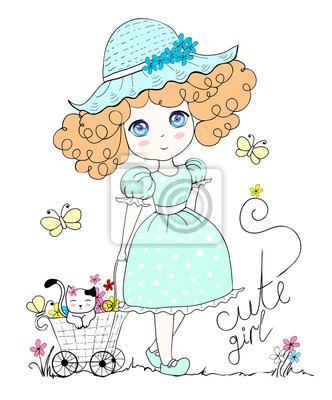 Illustration mit niedlichen kleinen Mädchen und Katze, Blumen, Schmetterling. In Pastellfarbe