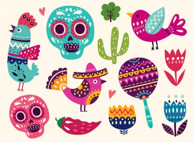 Sticker Illustration mit Symbolen von Mexiko