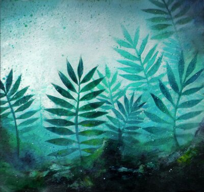 Sticker Illustration of a tropical forest landscape with plants in acrylic painting