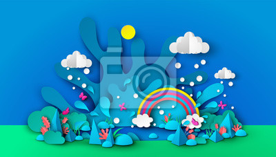 Illustration of a wonderful pond in the rainy season. natural garden design with water splash, rain, rainbow, flowers, plants, grass, butterflies, rocks and sky. paper cut style. Vector,illustration.