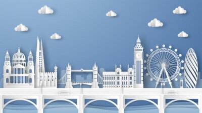 Sticker Illustration of city scene with famous architectures in London, England. Elements of London city, England. London city scene of England. paper cut and craft style. vector, illustration.