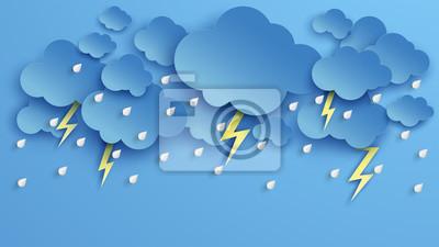 Illustration of Cloud and rain on blue background. heavy rain, rainy season, Overcast sky and lightning in the rainy season.
