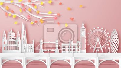 Illustration of London city, England on Autumn. London's famous architecture on Autumn. paper cut and craft design. vector, illustration.