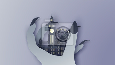 Illustration of London city in the witch's hand on Halloween night. London city on Halloween. paper cut and craft style. vector, illustration.
