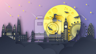 Illustration of London city on Halloween night. London's famous architecture on Halloween night. paper cut and craft style. vector, illustration.