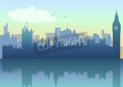 Illustration of London skyline in silhouette