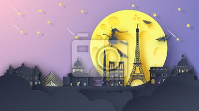 Illustration of Paris city on Halloween night. Paris's famous architecture on Halloween night. paper cut and craft style. vector, illustration.