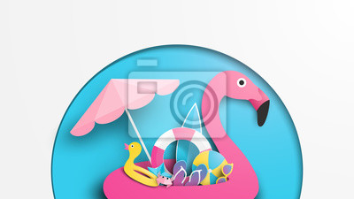 illustration of pink flamingo swim ring and beach equipment in summer. Paper cut and craft style. Vector, illustration.