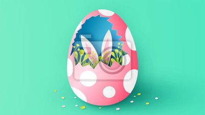 Illustration of planting grass in broken Easter egg and a rabbit behind. Creative design for Easter. paper cut and craft. vector, illustration.