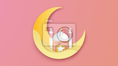 Illustration of Ramadan Kareem design in paper art style. Lovely Ramadan kareem poster. paper cut and craft style. vector, illustration.