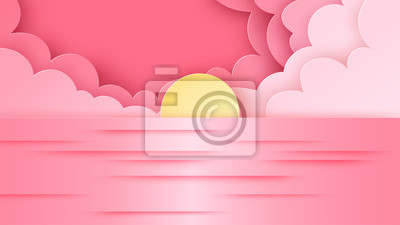 Illustration of sea view and sunset in the evening. Beautiful sunset on seascape. Sea view in summer. paper cut and craft style. vector, illustration.