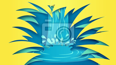 Illustration of sea view from the bushes in the tropical forest. Summer sea scenery. paper cut and craft style. vector, illustration.