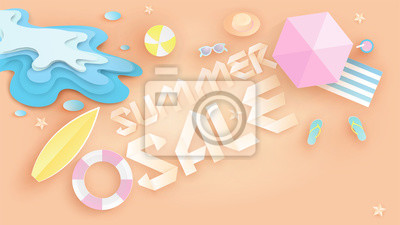 Illustration of Summer sale banner design in top view beach background and decoration. Aerial view of summer beachside and summer sale text. paper cut and craft style. vector, illustration.
