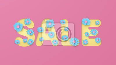Illustration of Text design for sale decorated with flowers in paper cut style. Spring sale banner with paper flowers. Paper craft and cut style. vector, illustration.
