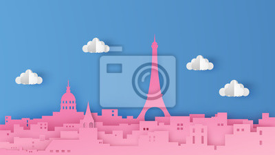 Illustration of the Paris city scene. The capital of France. Design in the form of paper art style. Beautiful Paris. paper cut and craft style. vector, illustration.